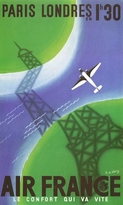 Air France Vintage Travel Poster De Valerio