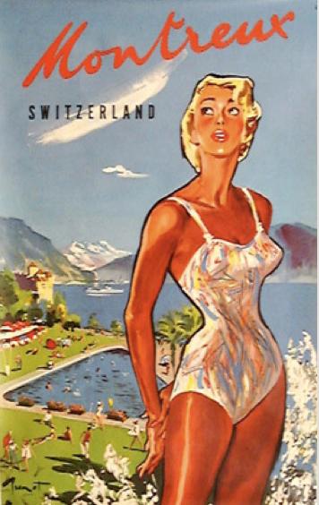 Montreux vintage Travel Poster PinUp