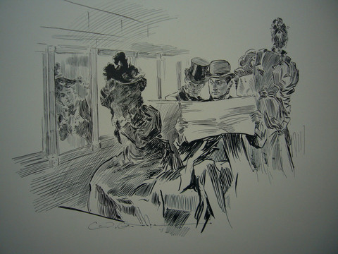 Charles Gibson - Gibson Girls - Couple on a Streetcar