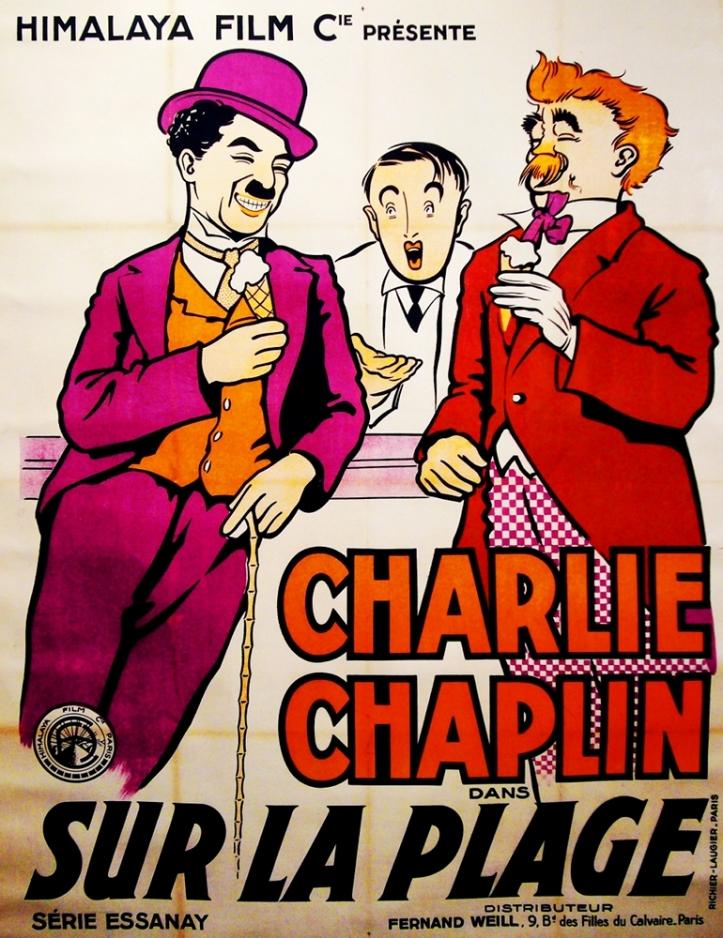 Charlie Chaplin Sur La Plage Vintage Movie Poster