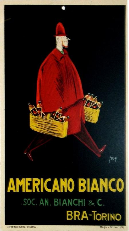 Americano Bianco Vintage Art Deco Carton Ad