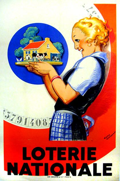 loterie nationale vincent 1925 vintage poster