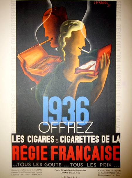 Art Deco Regie Francasie cigarettes Tobacco posters