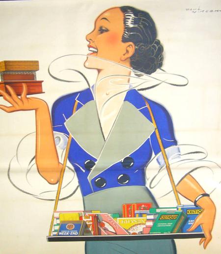 Rene Vincent Regie Francaise Cigarettes Vintage Poster