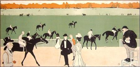 avant la course vintage lithograph