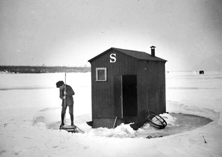 Ice fishing Vintage photograph