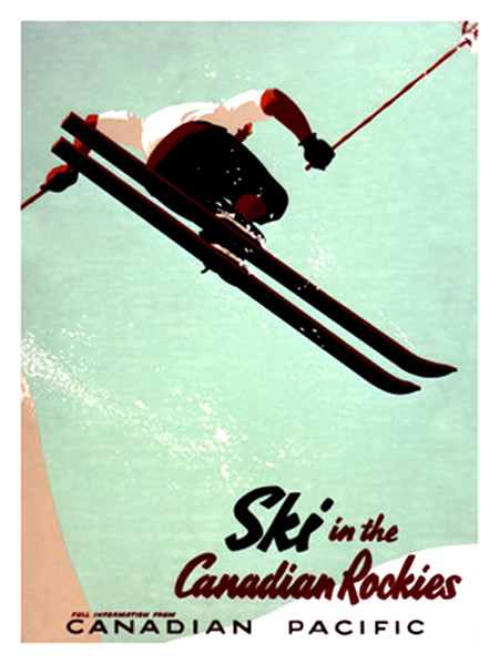 Ski in the Canadian Rockies Vintage Poster - CP