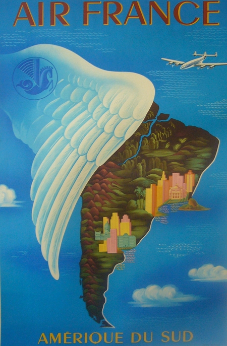 Air France Amerique du Sud South America Vintage Travel Poster