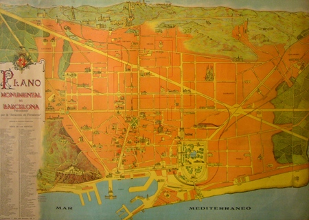 Vintage Map of the monuments of Barcelona