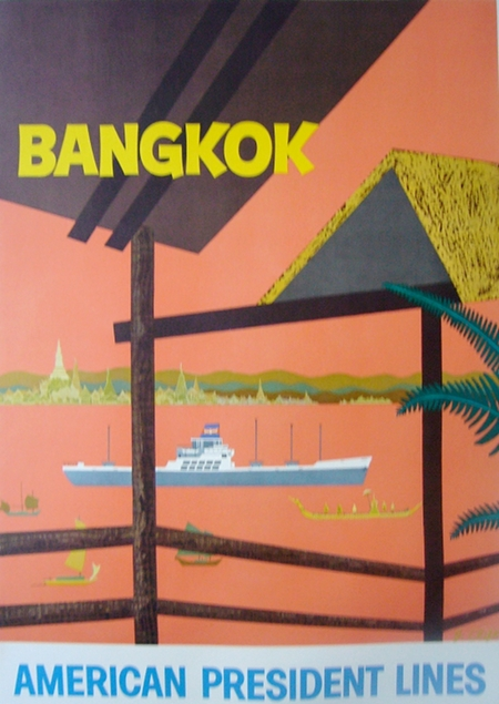 Bangkok-american president lines Vintage Travel Poster
