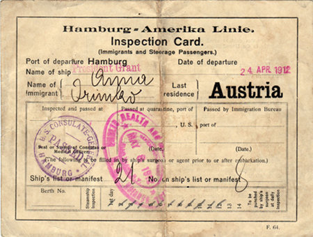 InspectionCard-PresidentGrant-AustrianImmigrant-Front