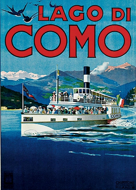 Lake Como Italy Travel Vintage Poster