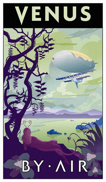 Venus by Air, A Futuristic-Retro Poster - Thomas