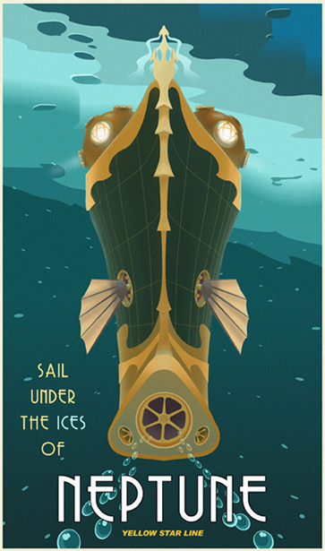 Sail Under the Ice of Neptune, A Modern Retro Poster - Thomas