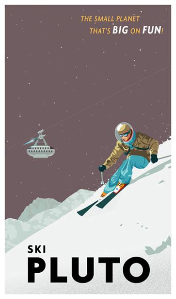 Ski Pluto, A Modern Retro Poster - Thomas