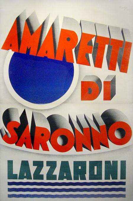 1932 Original Italian Art Deco Poster, Amaretti Di Saronno