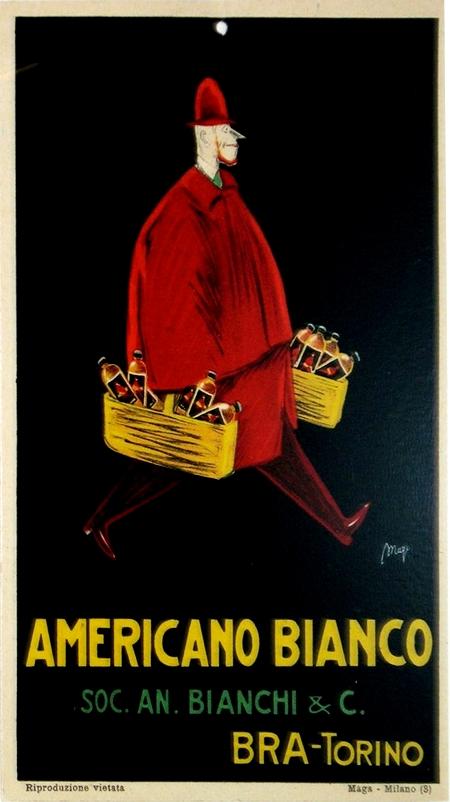 193 Original Italian Art Deco Carton, Americano Bianco