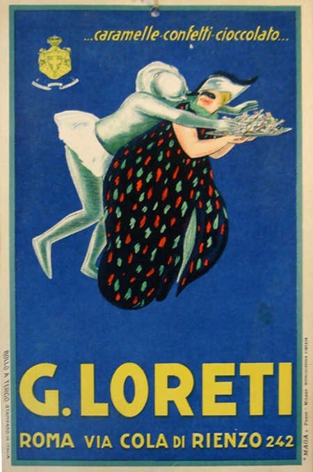 1920s Original Italian Vintage Carton, G. Loreti Caramels Advertisement