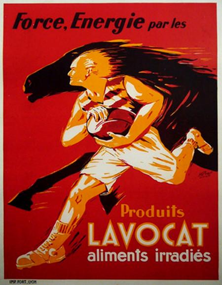 Original 1940s French Soccer Poster Produits Lavocat