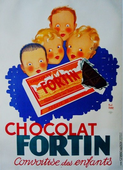 1934 Original French Art Deco Poster, Chocolat Fortin - Igert