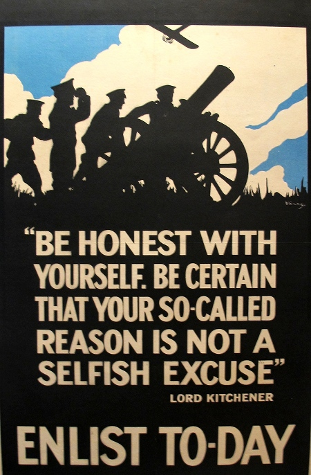 "WWI Conscription Poster, ""Be Honest With Yourself"" - Soutary"