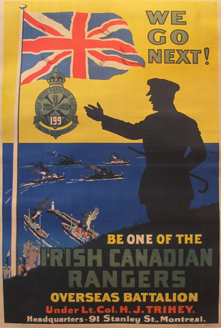 1914 Original Canadian WWI Poster, Irish Canadian Rangers Recruiting