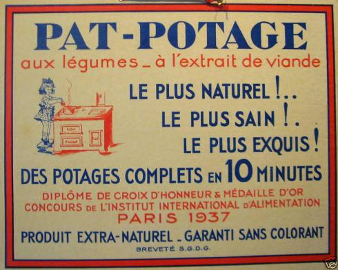 Vintage 1930s French Advertising Carton PAT Potage Carton
