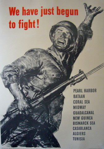 1943 Original American WWII Poster, We Have Just Begun to Fight