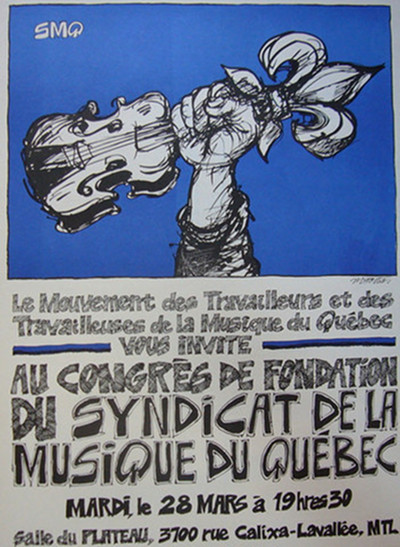 1970s Contemporary Montreal Poster, Mouvement des Travailleurs - Fortier