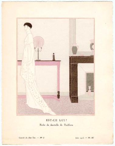 1920s French Art Deco Poster, Gazette du Bon Ton, Est-ce lui? Robe De Redfern