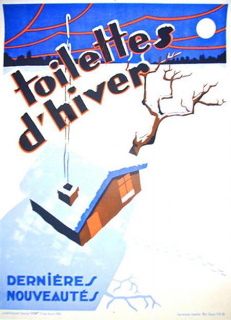 1930s Original French Art Deco Poster, Toilettes D'Hiver