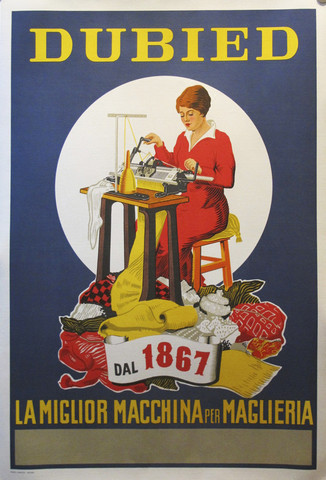 Original Italian 1950s Knitting Machine Poster