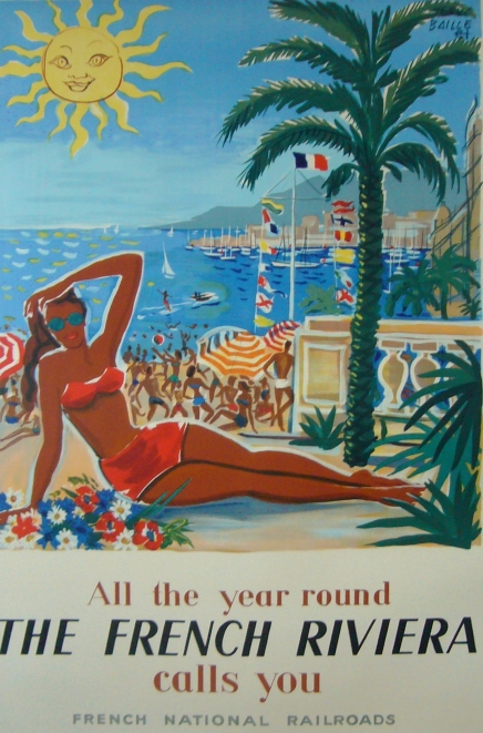 1949 Original French Travel Poster, The French Riviera