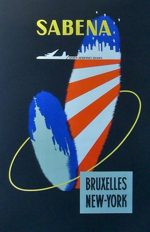 1950s Sabena Travel Poster.