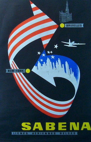 Sabena Travel Poster - Brussels to NY.