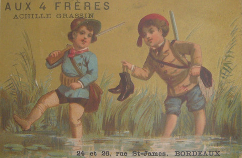 1890s Original French Confectionary Label, Aux 4 Freres.