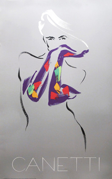 1980s Fashion Poster, Woman with Purple Gloves - CANETTI
