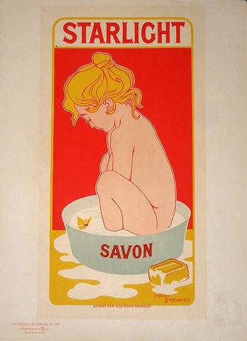 1900 French Art Nouveau Poster, Savon Starlight.
