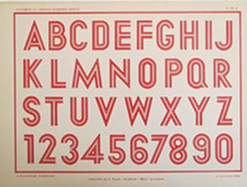 1920 Original French Art Deco Typography Sheet.