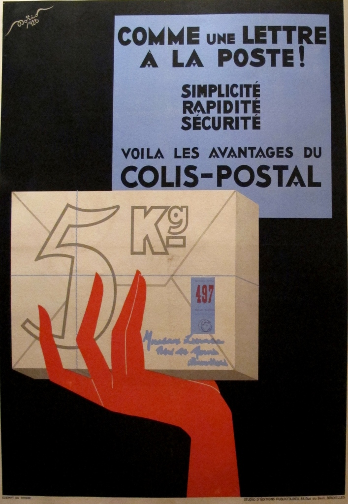 Original 1920s French Mail Service Poster, Colis Postal