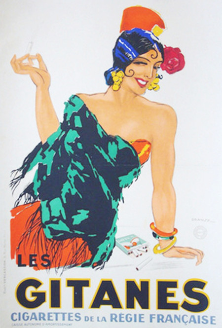 1931 Original French Art Deco Poster, Gitanes Cigarettes Advertisement - Dransy