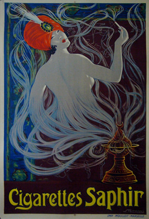 1900  French Belle Epoque Poster, Cigarettes Saphir Advertisement - Stephano