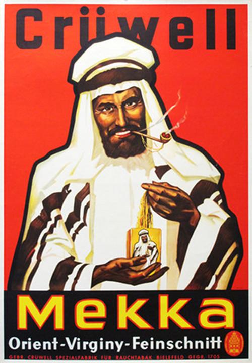 1920sl German Art Deco Poster, Cruwell Mekka Tabak Cigarette