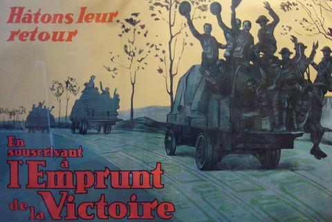 Original French Canadian WWI Victory Bond Poster, Emprunt de la Victoire