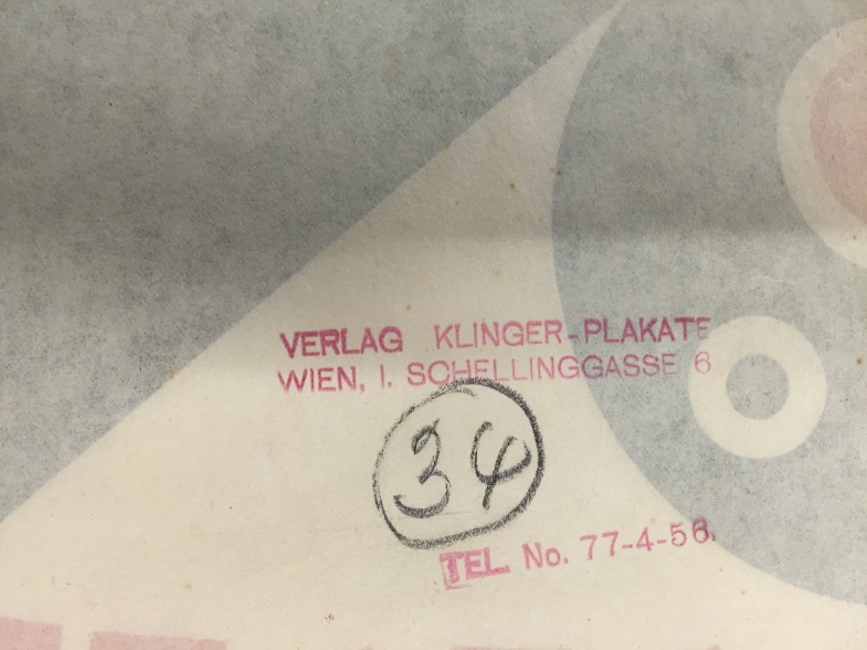 The reverse of the poster, with Julius Klinger's stamp